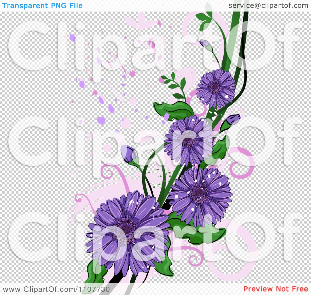 Clipart purple gerbera daisy flowers over swirls and splatters png file has a izmirmasajfo