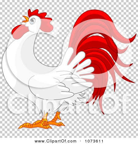 Clipart Red And White Rooster Crowing - Royalty Free ...