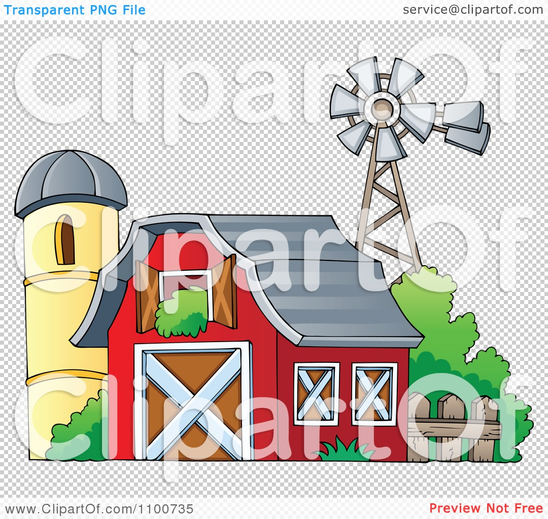 Red Barn Clip Art Transparent clipart red barn with an open hay loft a silo and windmill