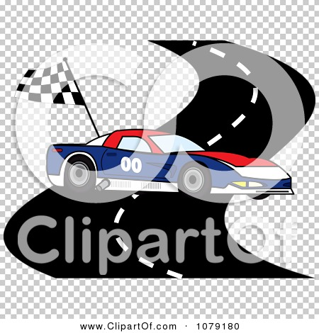clipart red white and blue race car on a track with a checkered flag royalty free vector. Black Bedroom Furniture Sets. Home Design Ideas