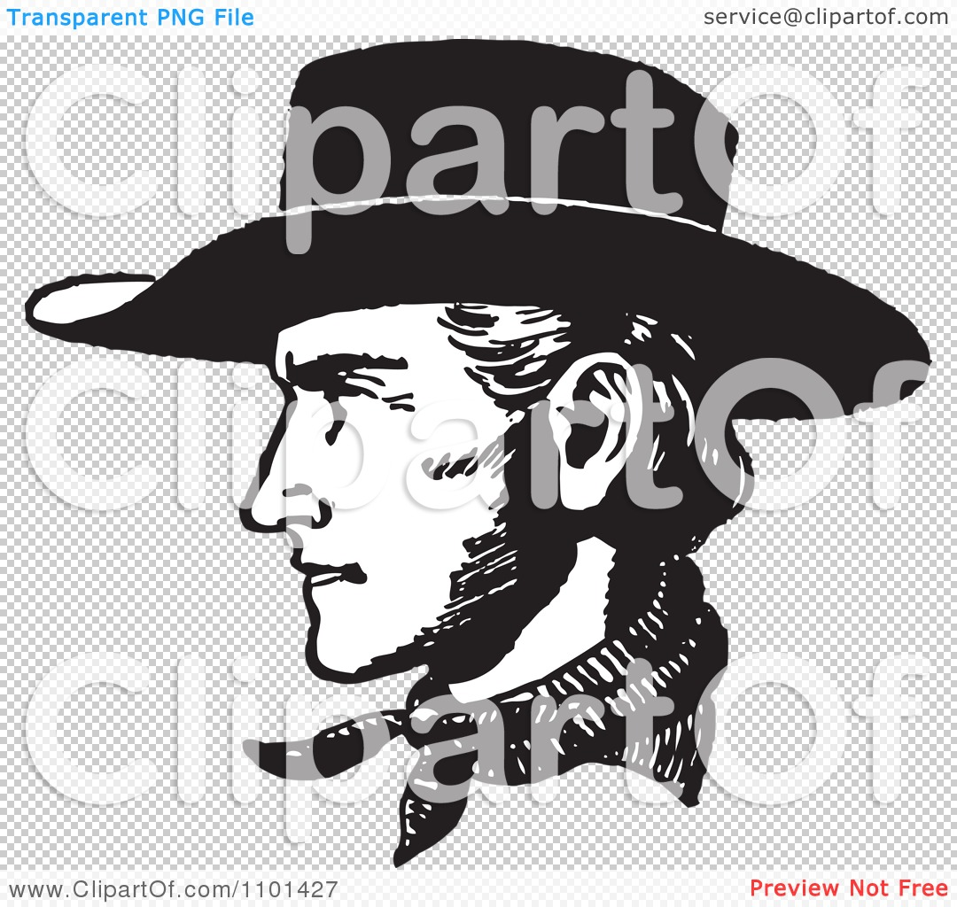Cowboy profile silhouette clip art - photo#25