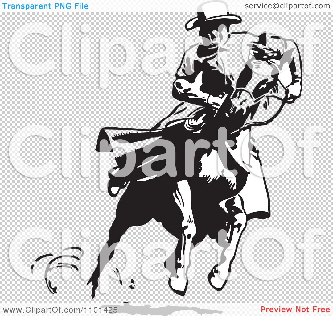 Clipart Retro Black And White Cowboy Looking Back On A Running ...
