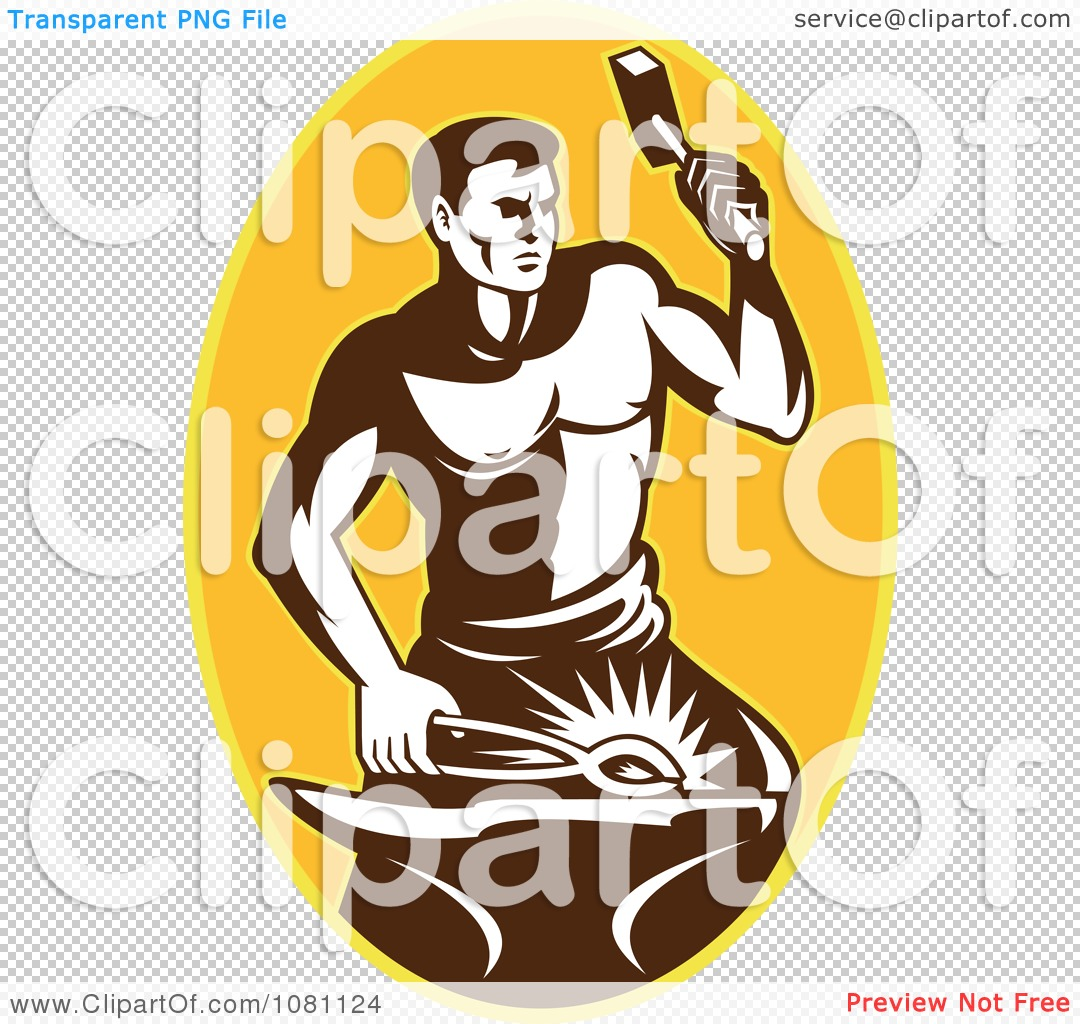 Clipart Retro Blacksmith Hammering Over A Yellow Oval - Royalty ...