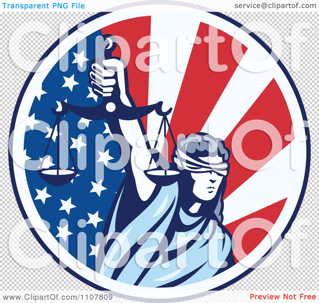 clipart retro circle of lady justice holding scales up