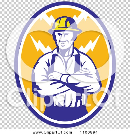 Clipart Retro Electrician Or Construction Worker With