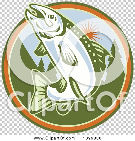 Clipart Retro Jumping Trout Fish Against A Tree And Sun Circle ...