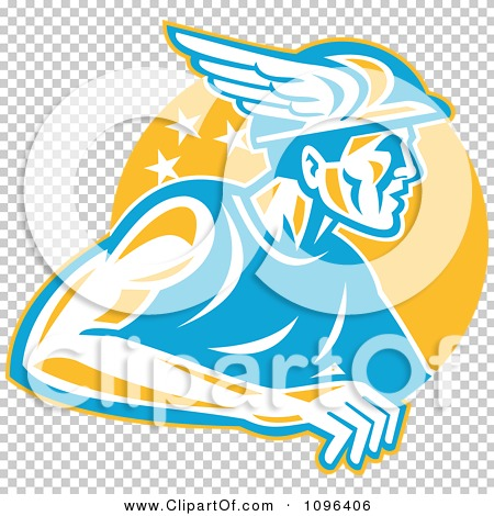 Clipart Retro Roman God Mercury Or Greek God Hermes With A Winged ...