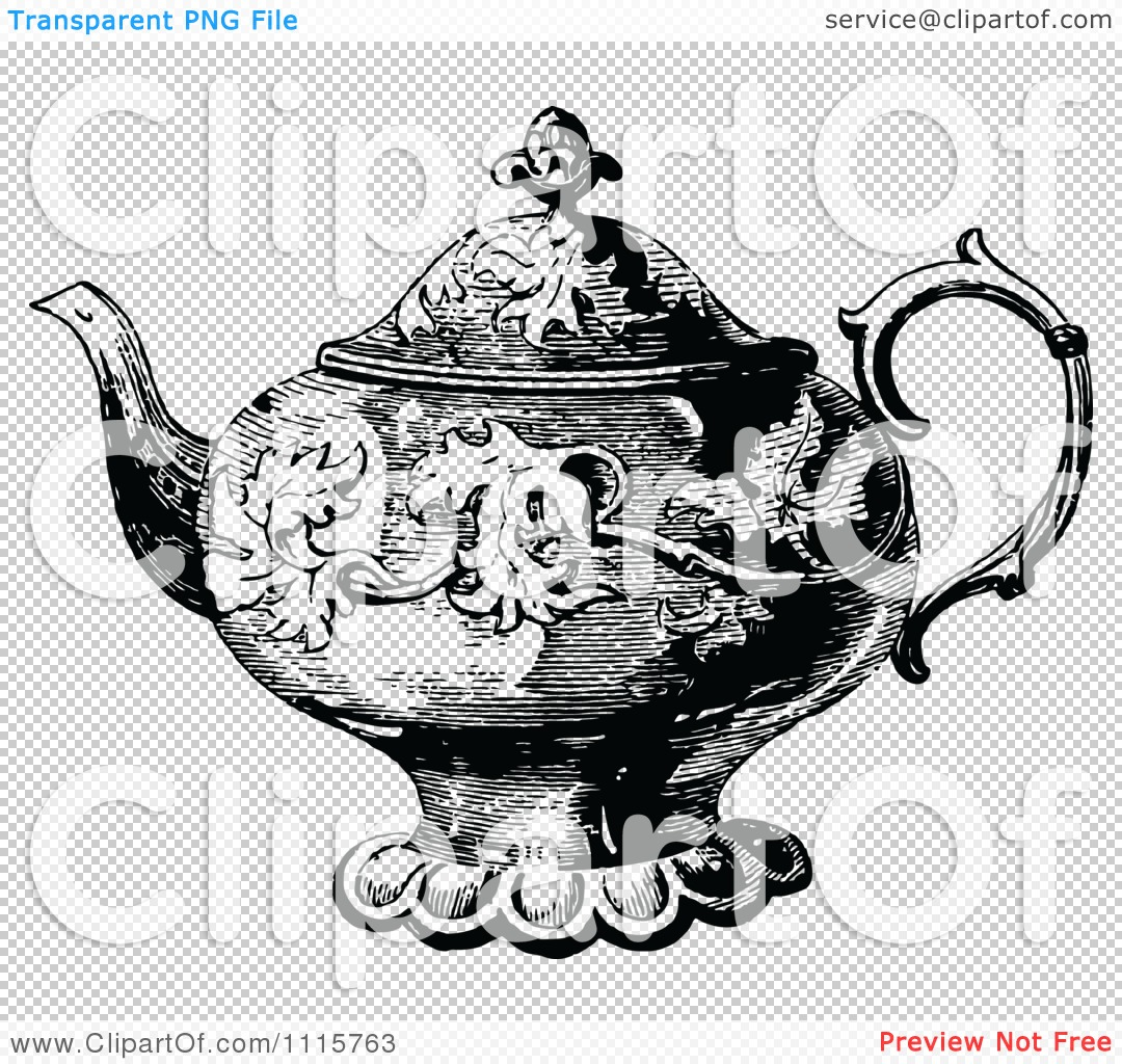 Classic Retro Illustration: Clipart Retro Vintage Black And White Decorative Tea Pot 1