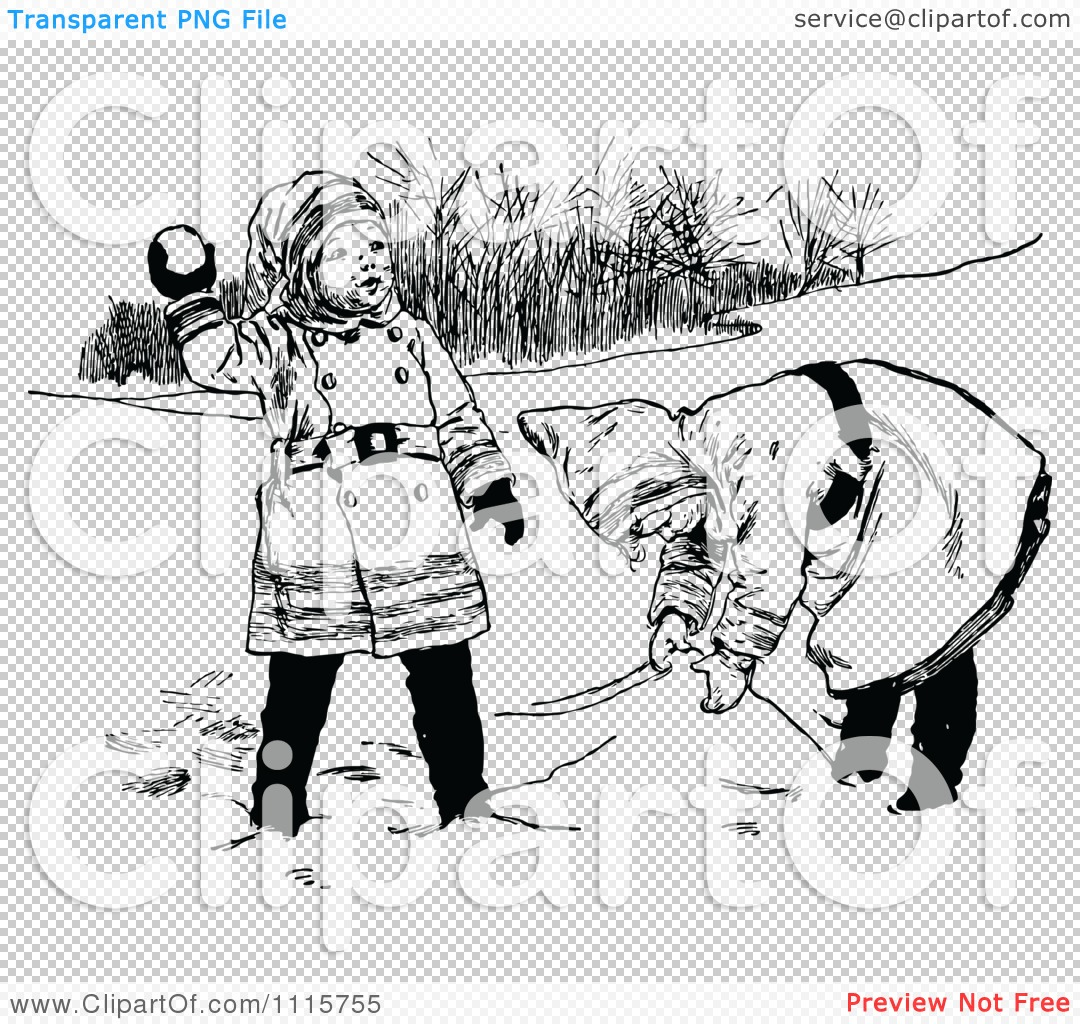Clipart Retro Vintage Black And White Girls Playing In The Snow ... for Snow Background Clipart Black And White  199fiz