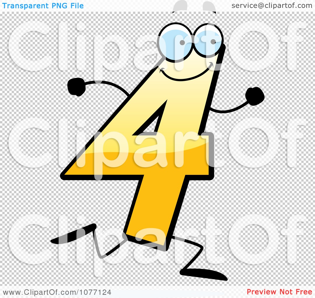 images of clipart running yellow number four royalty free vector ...