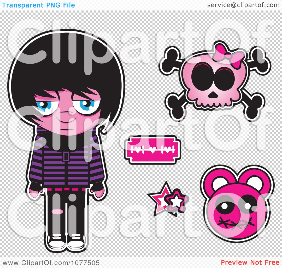 Sad Boy Alone Quotes: Clipart Sad Emo Kid With A Skull And Design Elements