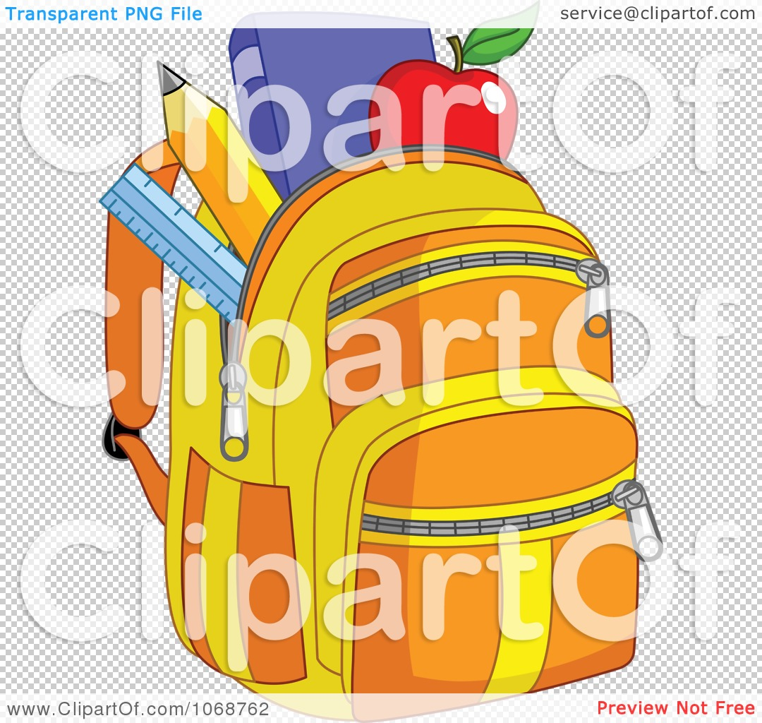 Clipart School Bag With Items - Royalty Free Vector Illustration ...