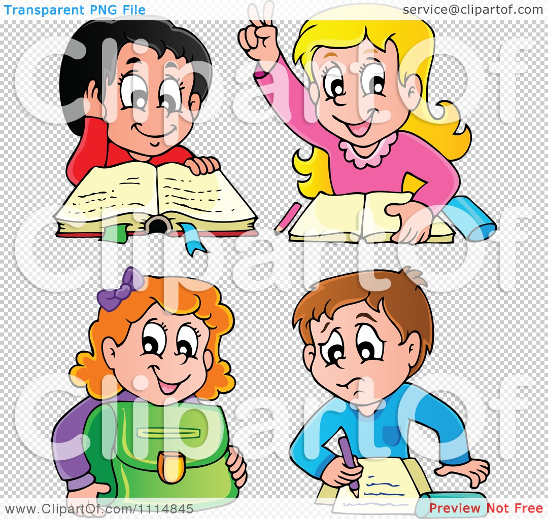 Clipart School Children Reading And Doing Homework - Royalty Free ...