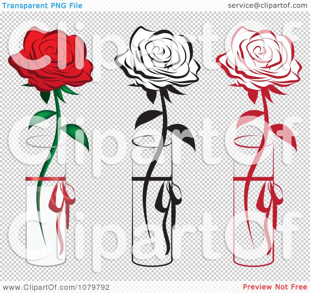 Clipart set of red and black single roses in vases royalty free png file has a reviewsmspy
