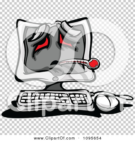 Clipart Sick Desktop PC Computer With A Thermometer And Red Eyes ...