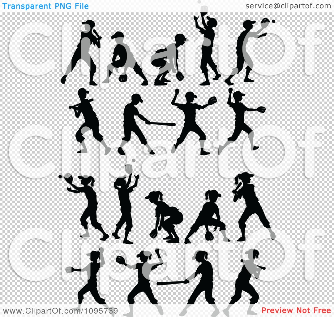 Clipart Silhouetted Boys And Girls Playing Baseball And Softball ...