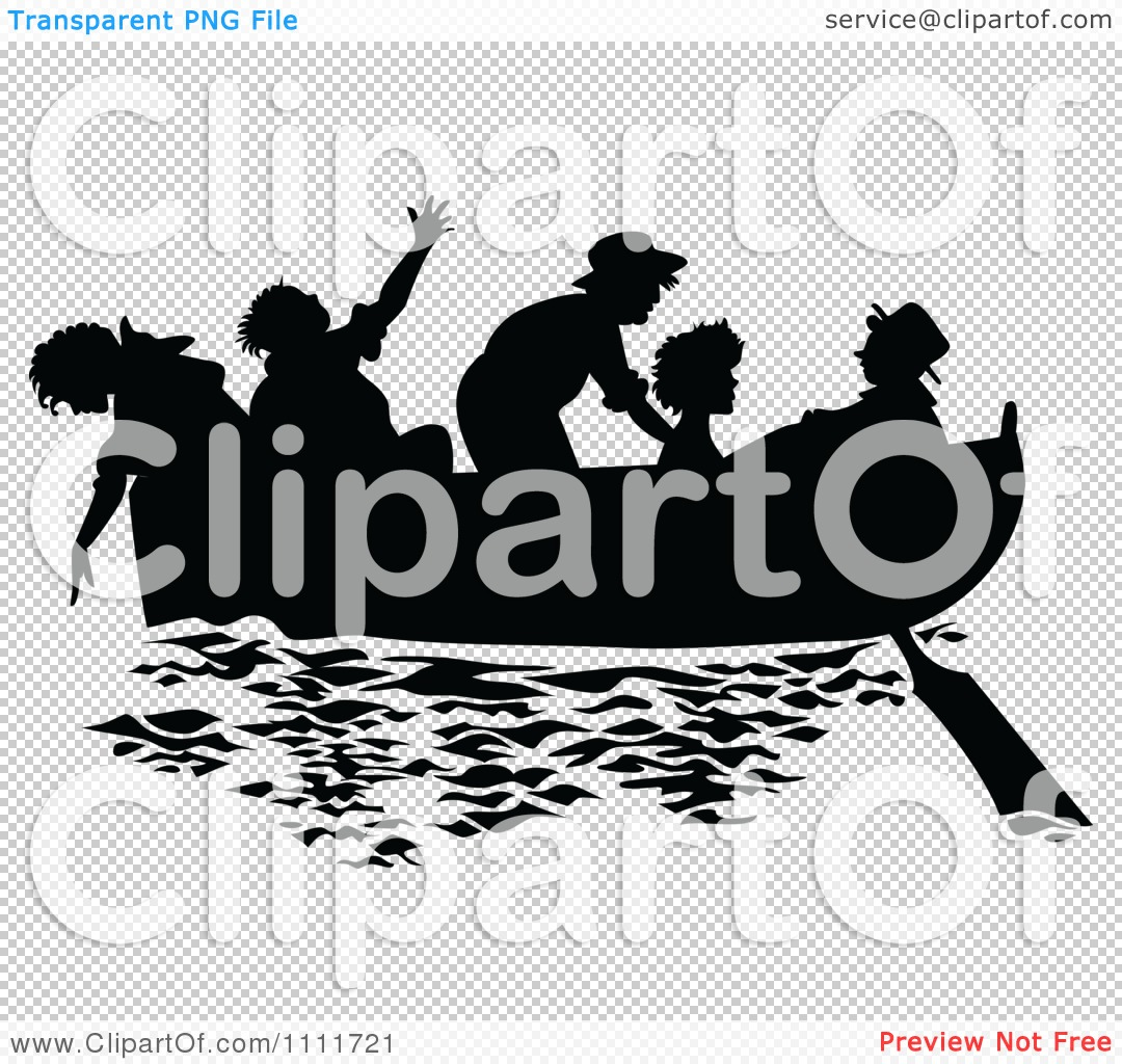 Clipart Silhouetted Kids In A Boat Black And White
