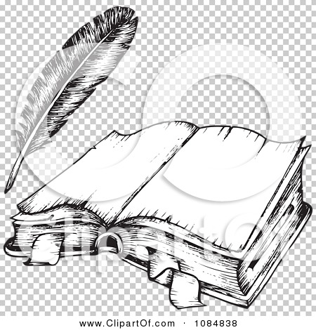 Book And Quill Drawing Drawing of an Open Book