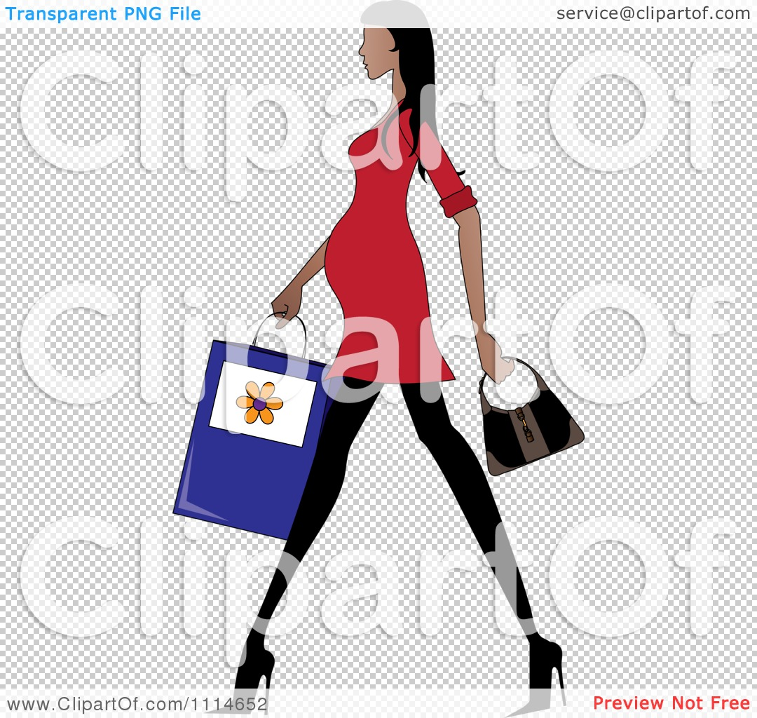 Clipart Slender Hispanic Pregnant Woman Walking With A ...