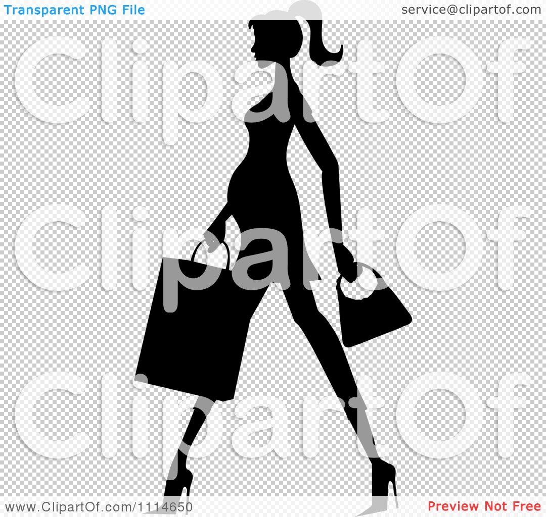 Clipart Slender Silhouetted Pregnant Woman Walking With A Shopping ...
