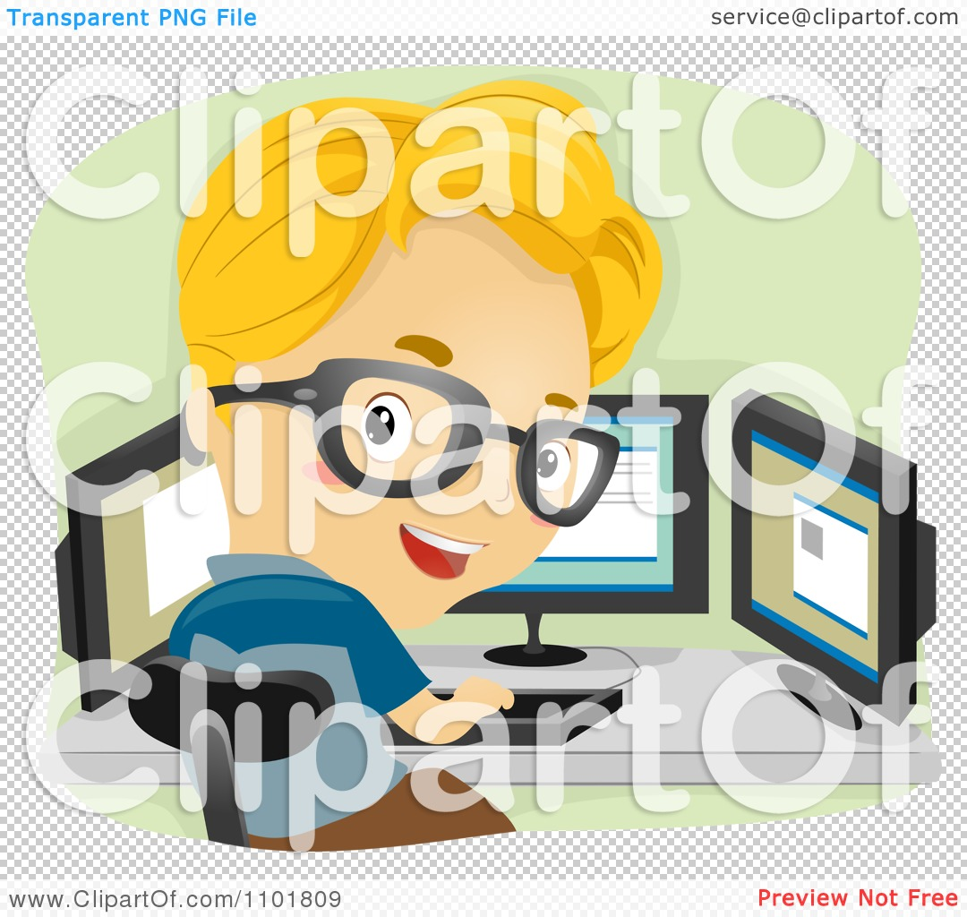 Clipart Smart Boy Working With Three Computer Monitors