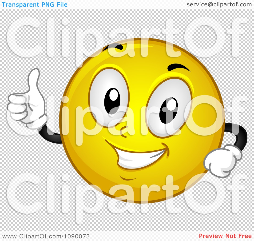 Clipart Smiley Emoticon Holding A Thumb Up Royalty Free Vector