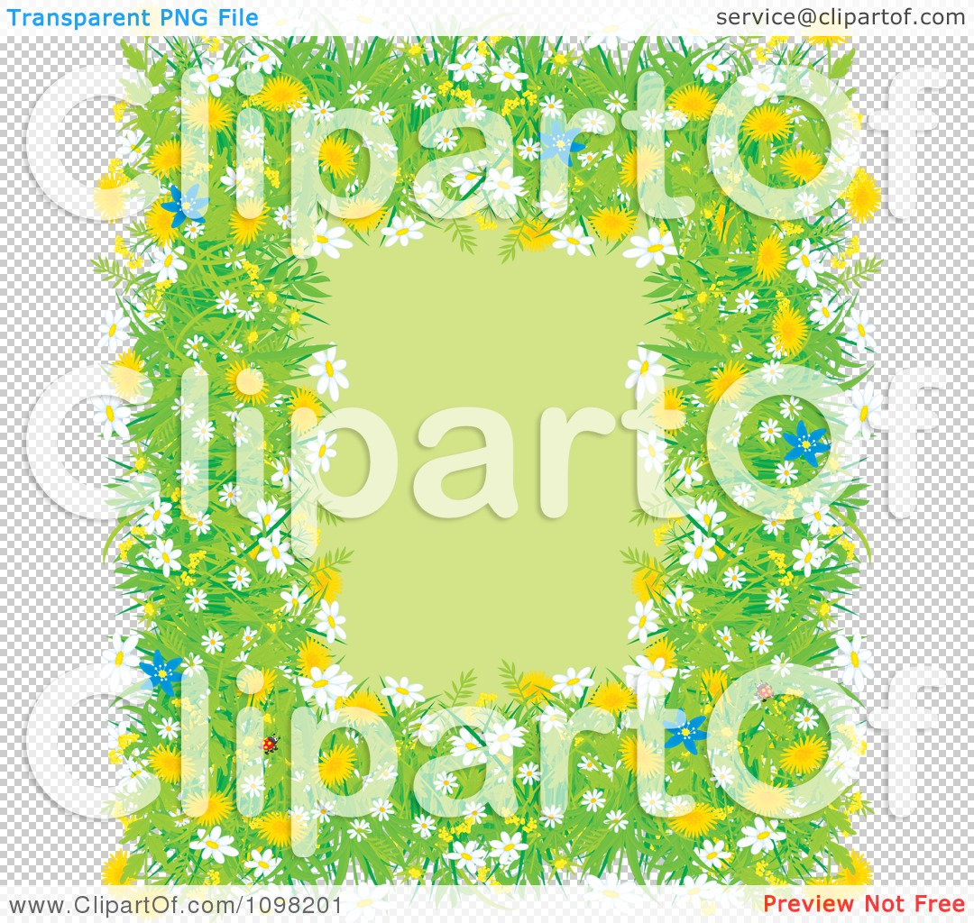 76f553a1c14c Clipart Spring Ladybug Flower Dandelion Daisy And Blue Lily Frame ...