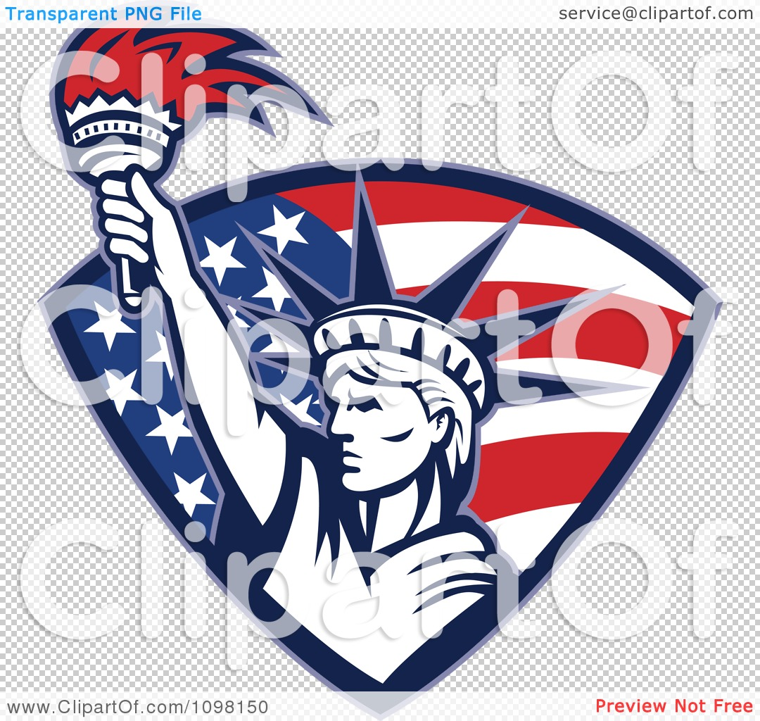 clipart statue of liberty holding up a torch in an american flag png file has a