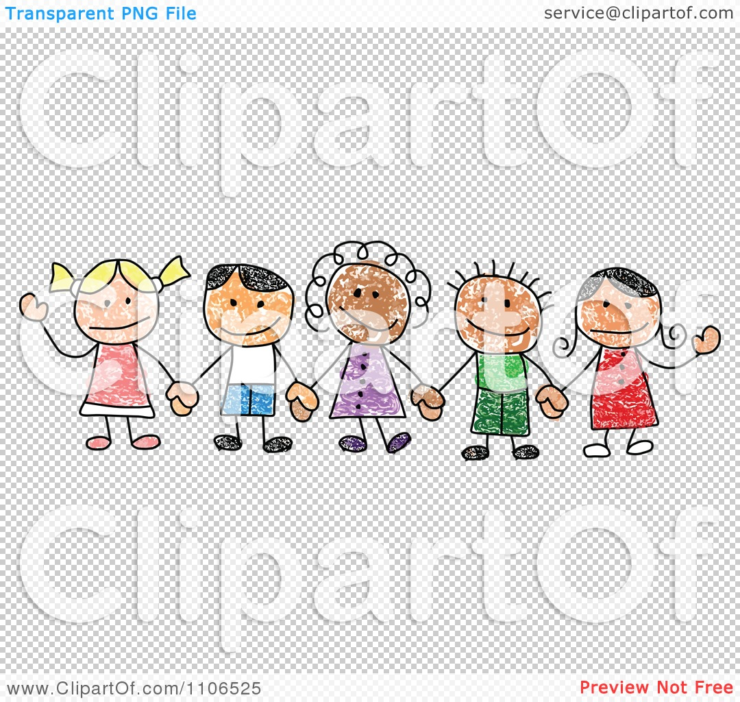 Clipart Stick Drawing Of Multi Ethnic Children Holding Hands ...