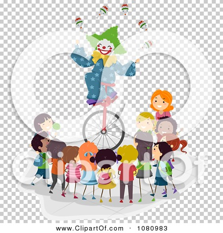 Clipart Stick Kids Watching A Clown Juggle On A Unicycle - Royalty ...