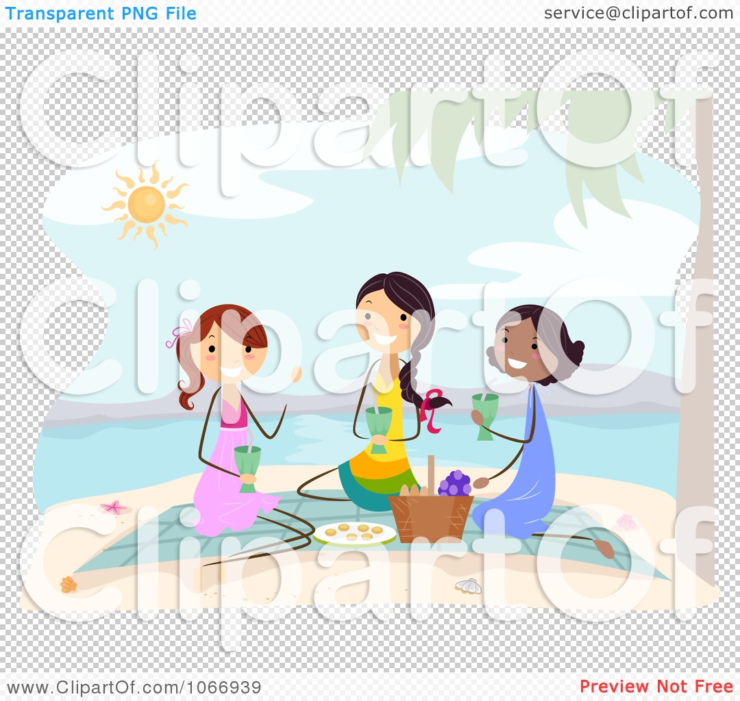 Clipart Stick Women Having A Beach Picnic - Royalty Free ...