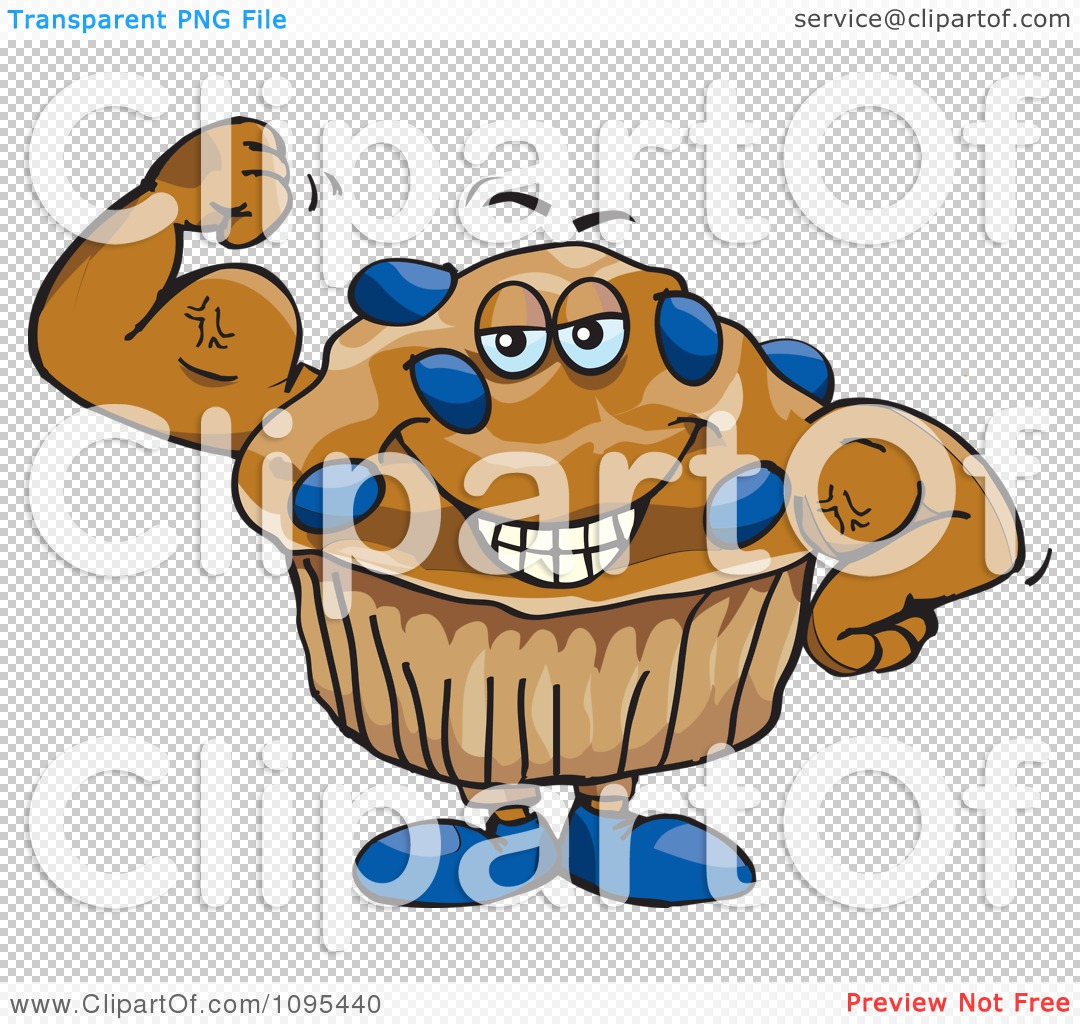 Clipart Strong Protein Blueberry Stud Muffin Flexing Its
