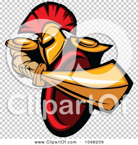 clipart strong spartan warrior stabbing with his gold