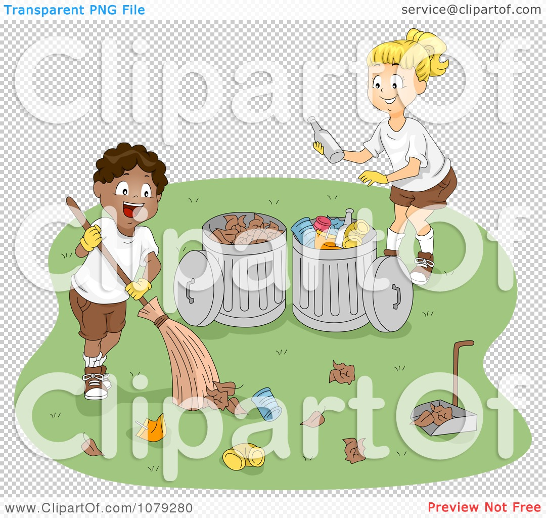 Clipart Summer Camp Boys Cleaning Up Garbage - Royalty ...
