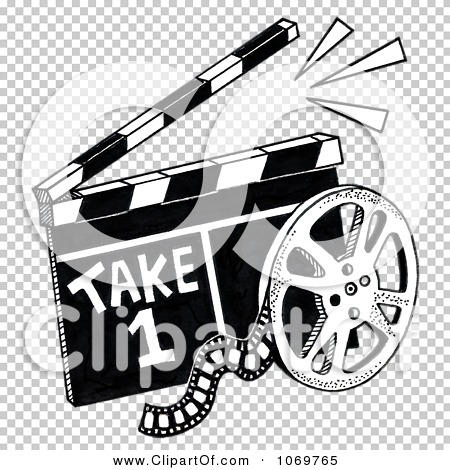 clipart take 1 clapper board and film reel sketch