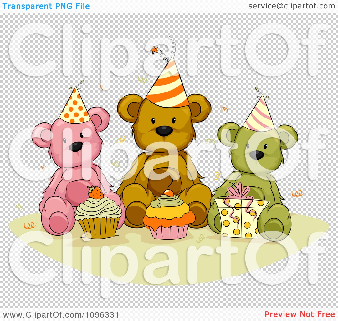 Clipart Teddy Bears With Birthday Cupcakes Presents And Confetti ...