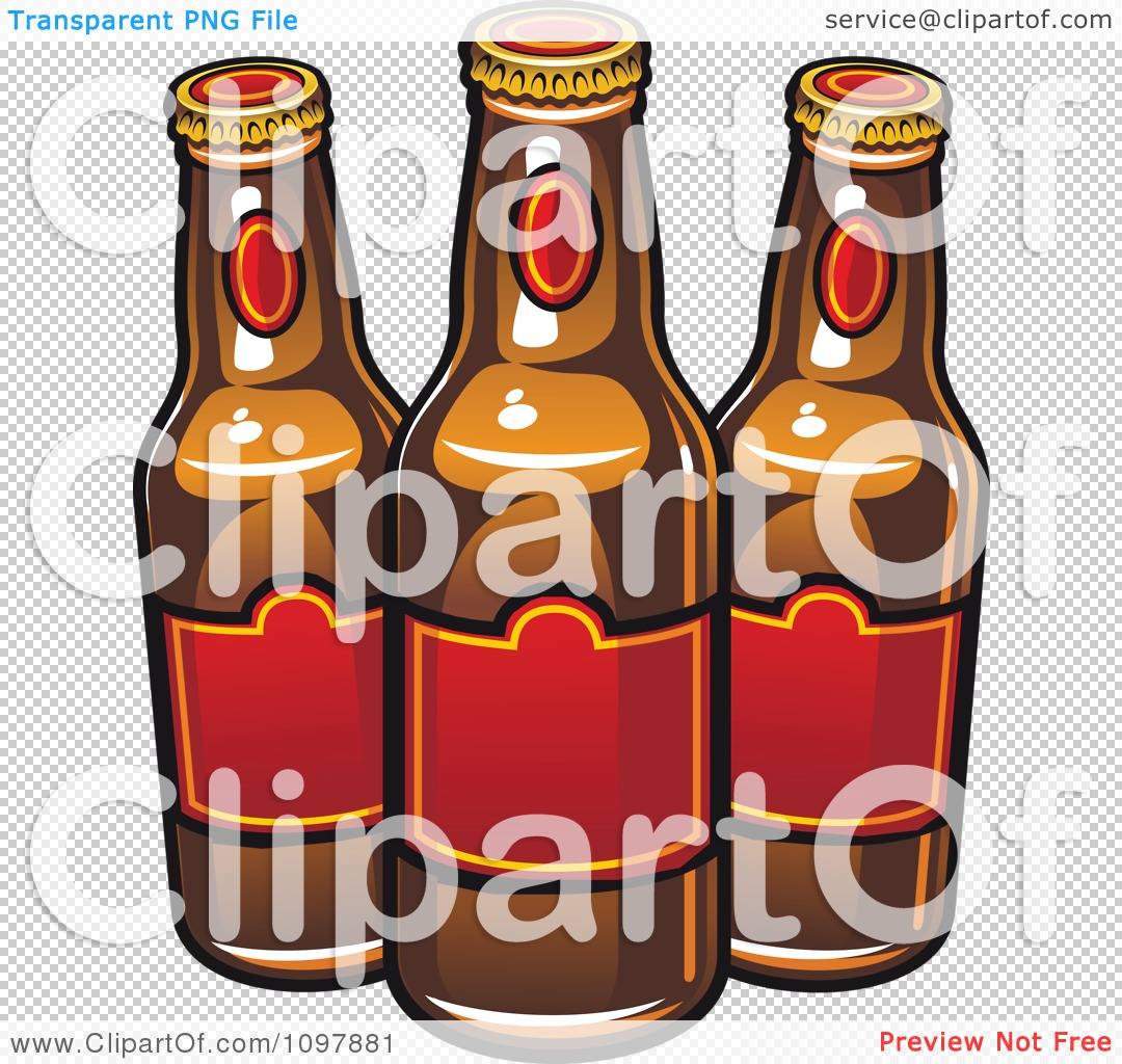 clipart three beer bottles with red labels royalty free