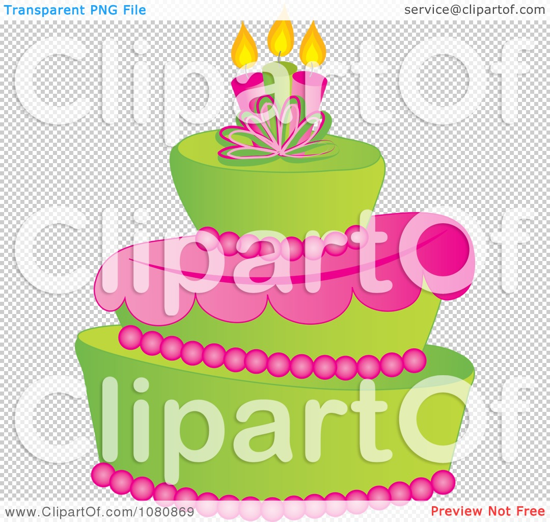 Clipart Three Tiered Green And Pink Fondant Cake With Birthday