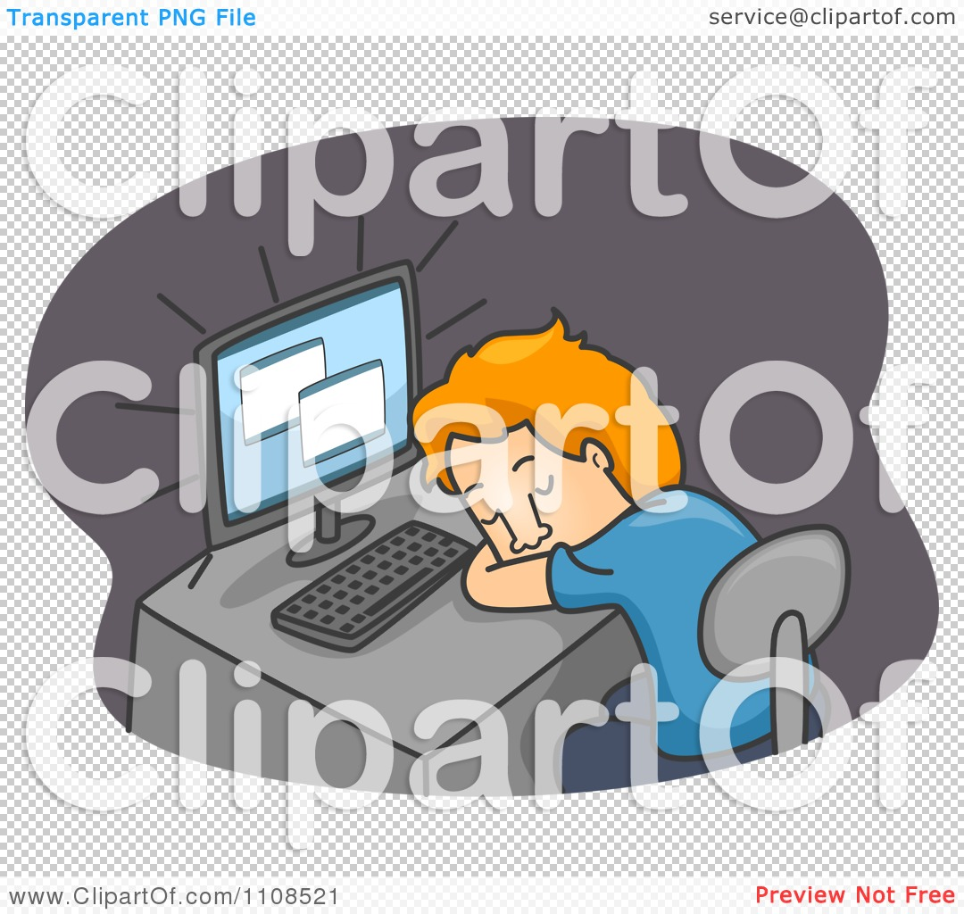 Clipart Tired Man Sleeping At His Computer Desk Over Gray ...