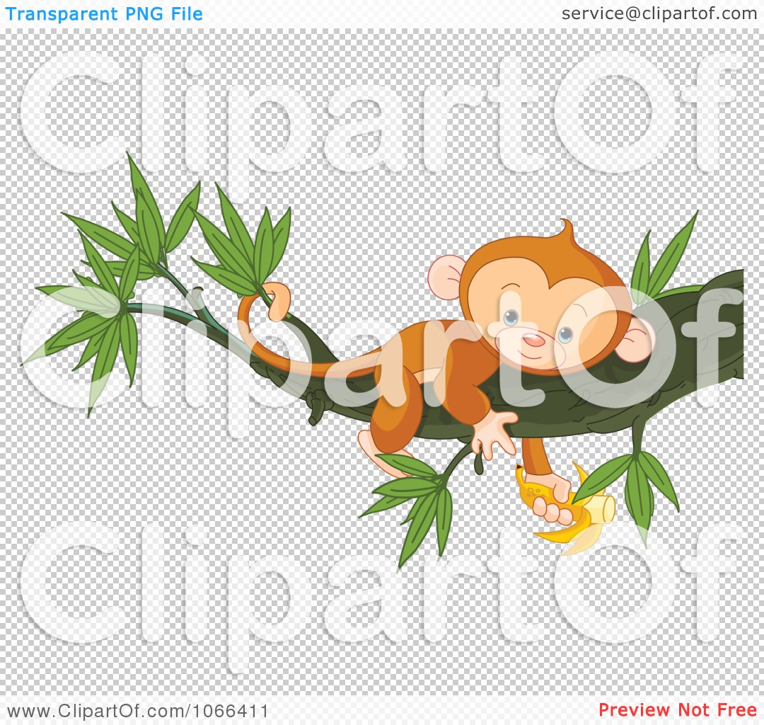 clipart tired monkey resting in a tree with a banana royalty
