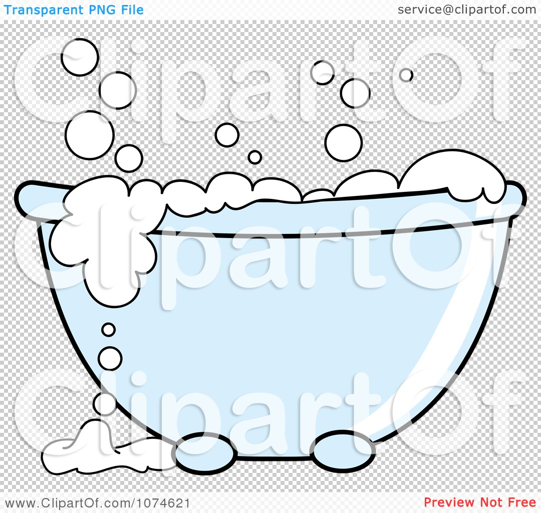 Clipart Tub With Sudsy White Bubble Bath - Royalty Free Vector ...
