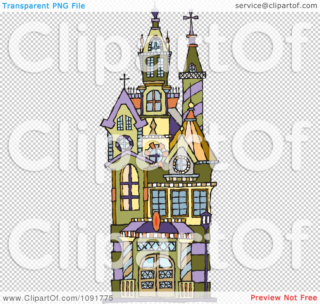 Clipart Victorian Building With Towers - Royalty Free Vector ...