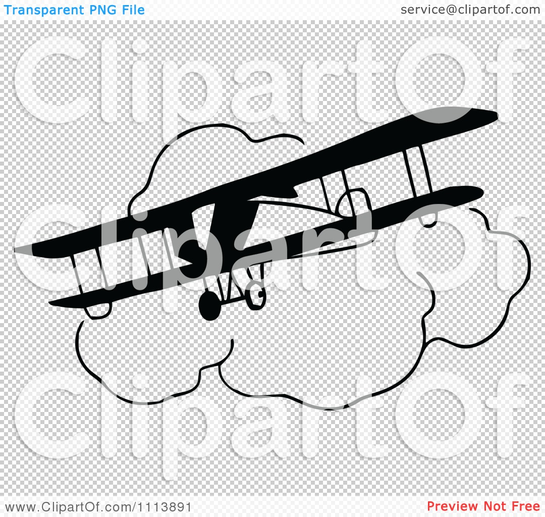 Clipart Vintage Black And White Bi Plane And Clouds ...