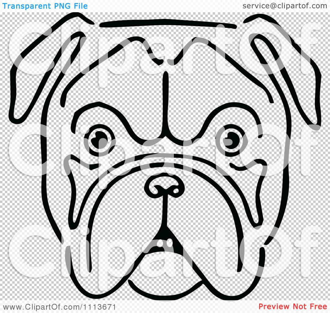 Clipart Vintage Black And White Bulldog Face - Royalty Free Vector ...