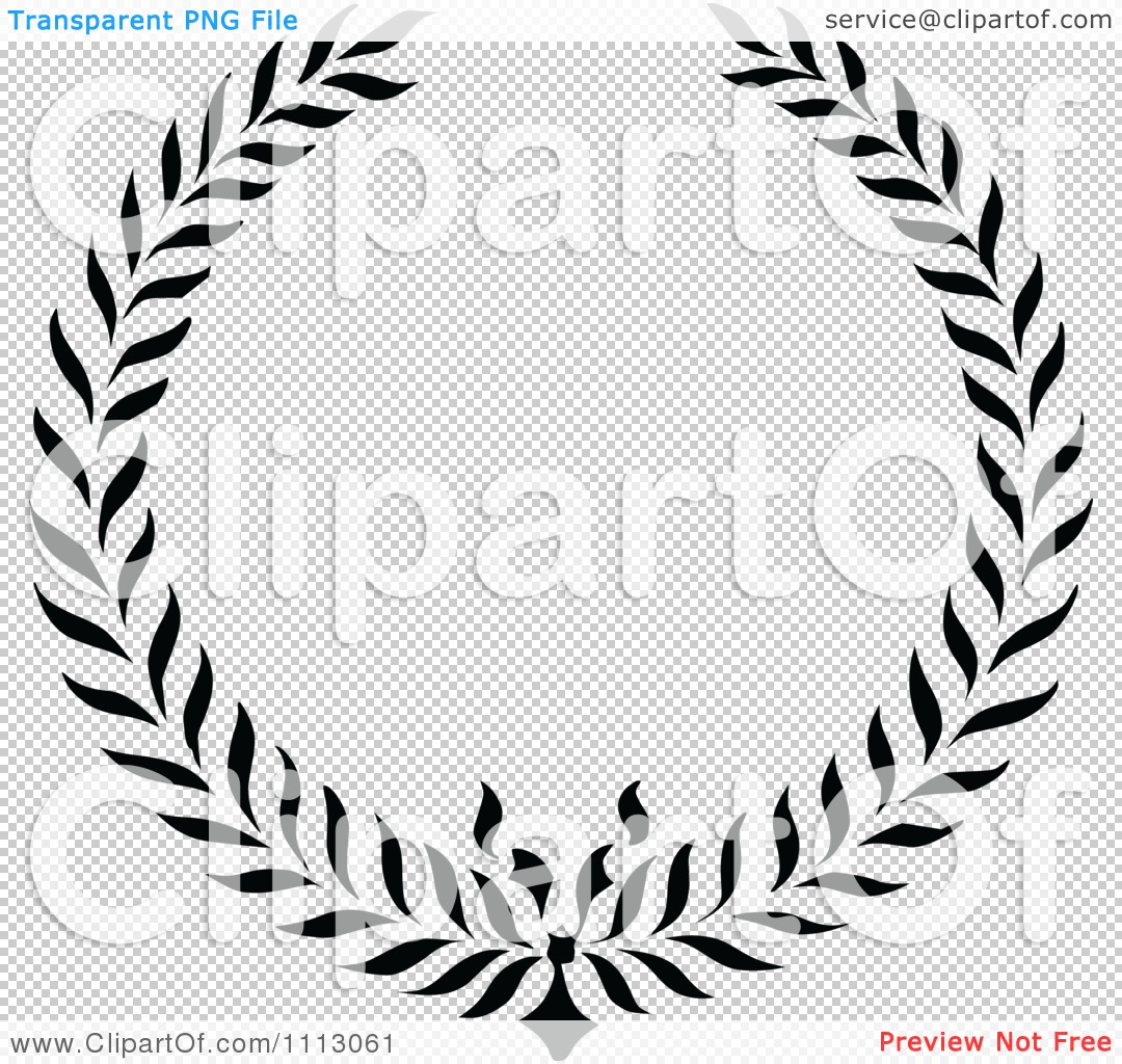 Clipart Vintage Black And White Floral Wreath Frame - Royalty Free ...