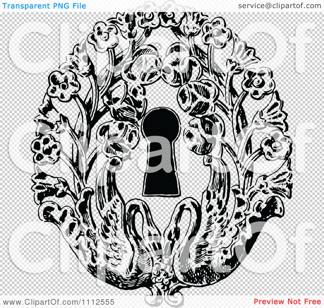 Clipart Vintage Black And White Keyhole With Flowers And ...