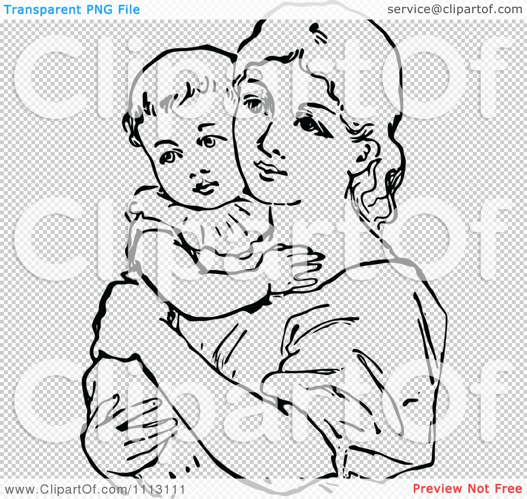 Clipart Vintage Black And White Mother Holding Her Baby Royalty Free Vector Illustration By Prawny Vintage 1113111
