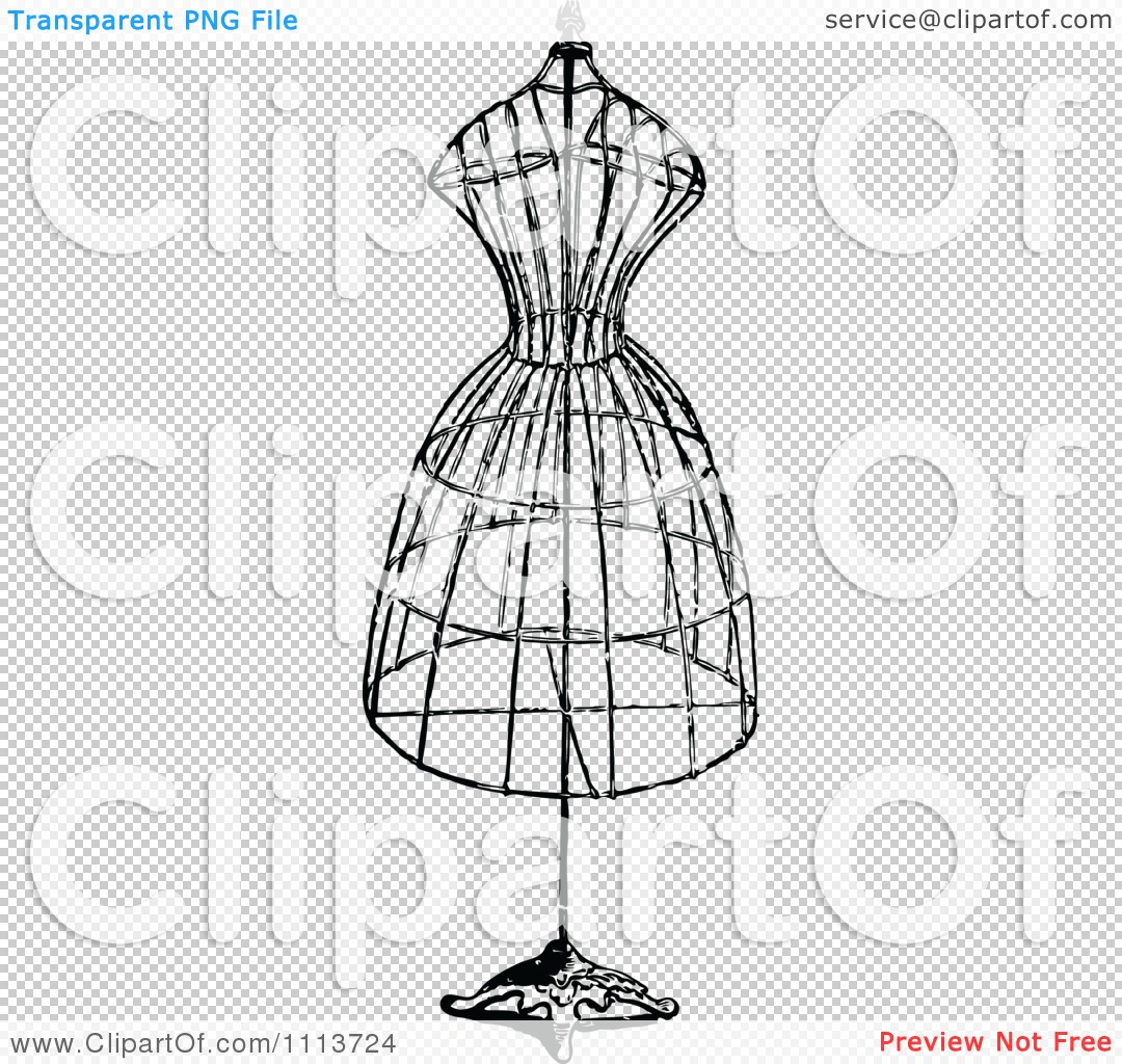 Clipart Vintage Black And White Wire Dressmaker Frame - Royalty Free ...