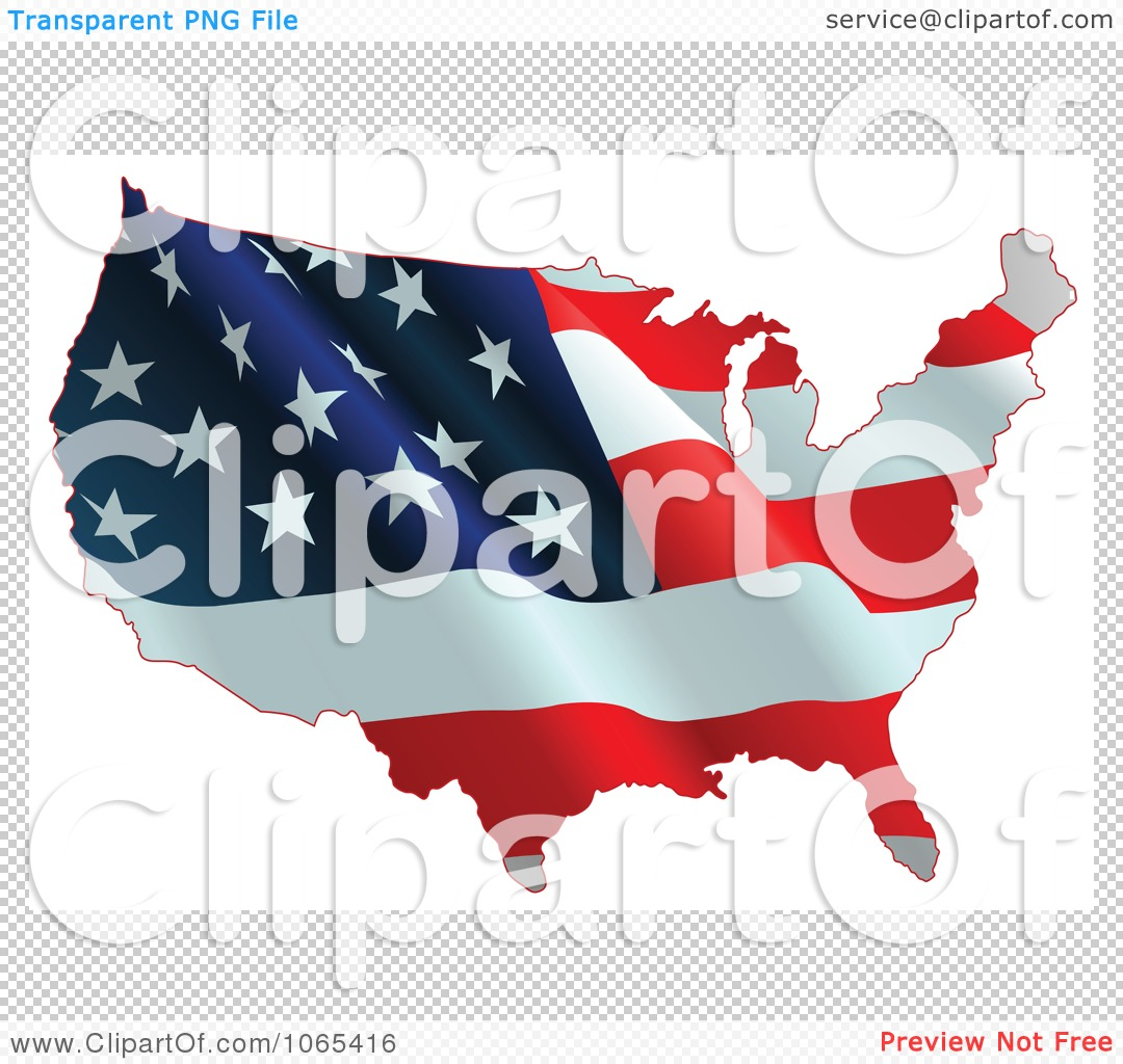 Clipart Waving American Flag Map Royalty Free Vector - Us vector map on transparent back