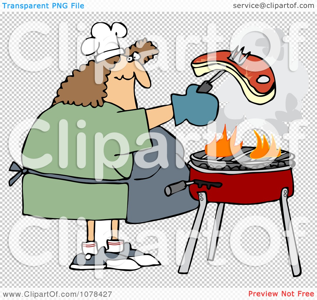 Clipart Woman Grilling Steak On A BBQ - Royalty Free